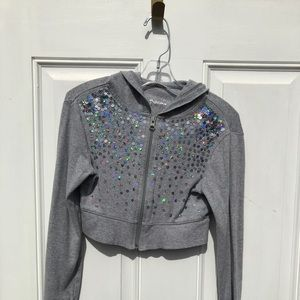 Girls justice cropped sequin hoodie
